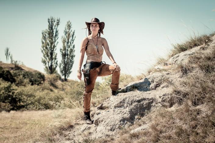 Cowgirl Kostümshooting auf der Schwellenburg unweit von Erfurt