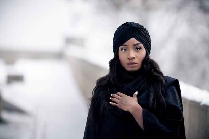 Schnee und ein bedeckter Tag - perfektes Portraitlicht wie hier auf dem Petersberg in Erfurt