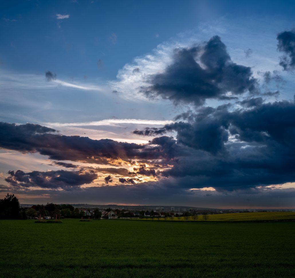 Sonnenuntergang über Erfurt gesehen von Dittelstedt