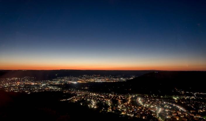 Jena von oben bei Nacht
